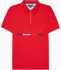 tommy hilfiger adaptive men's custom-fit toby logo polo with zipper closure