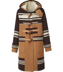 burberry hooded striped duffle coat - brown