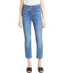 veronica beard carly exposed button high waist crop slim jeans, size 27 in astra at nordstrom