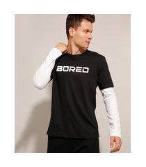 """camiseta de algodão bored"""" manga longa com sobreposição gola careca preta"""""""