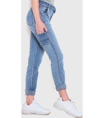 jeans wados roll up con cinturón azul - calce ajustado