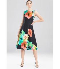 ophelia jacquard long dress, women's, black, cotton, size 8, josie natori