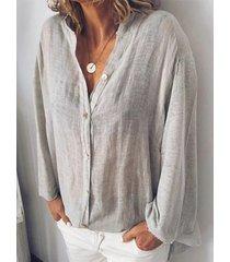 camicetta per colletto da donna tinta unita manica lunga