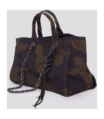 bolsa de lona shopping bag camuflada verde - u