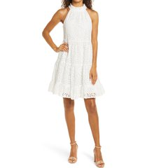 women's eliza j eyelet tiered halter dress