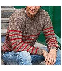men's alpaca blend sweater, 'tan cuzco casual' (peru)