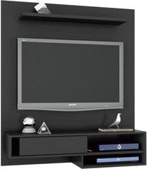 painel bancada suspensa para tv até 50 pol. orleans preto móveis leão