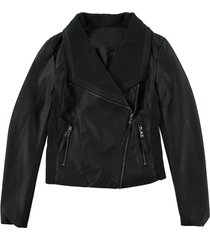jacket leatherlook - turquoise by daan - black & dark green