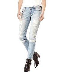 dżinsy model skinny z przetarciami