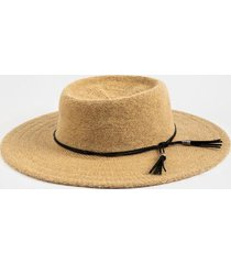 marie tassel trim panama hat - camel