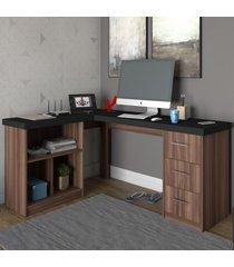 mesa para escritório mali 3 gavetas preto/ipê - artany