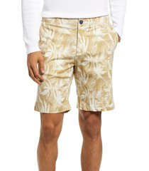 benson print chino shorts, size 36 in beige palm at nordstrom