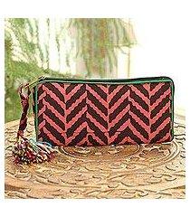 batik cotton wallet, 'autumn chevron' (india)