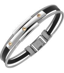 forzieri designer bracelets, men's stainless steel and rubber screws bracelet