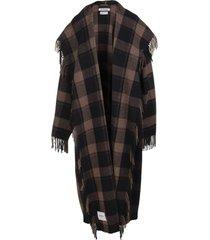balenciaga woman brown and black blanket coat