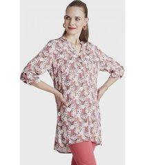 blusa manga 3/4 con bolsillos rosa curvi
