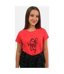 """t-shirt camiseta feminina """"oh happy day"""""""" manga curta vermelha"""""""