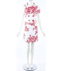 andrew gn coral pink white cotton double breasted dress white/pink sz: s