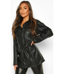 petite faux leather belted longline shirt jacket, black