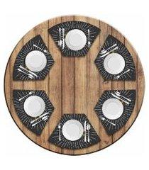 jogo americano love decor  para mesa redonda wevans hambúrguer  kit com 6 pçs