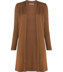 agnona long open front cardigan - brown