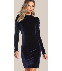 ogs80 puff sleeve elegant velvet pencil sheath dress long sleeve casual party