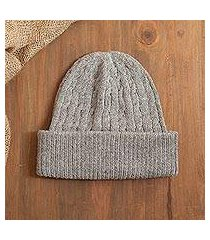 100% alpaca knit hat, 'comfy in grey' (peru)