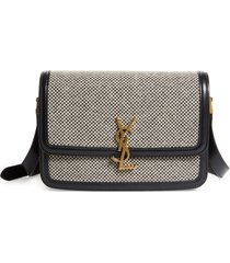 saint laurent medium solferino tweed shoulder bag - black