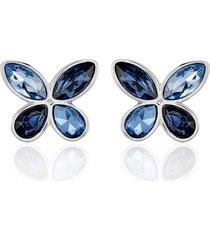orecchini a lobo farfalla in metallo rodiato e pietre colore blu per donna