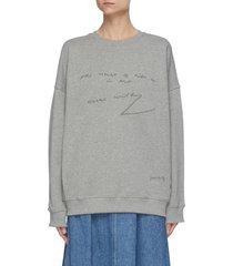 quote embroidered oversized raglan sweatshirt