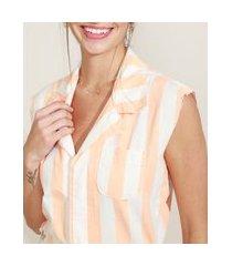 macaquinho de sarja feminino listrado com bolsos gola esporte laranja
