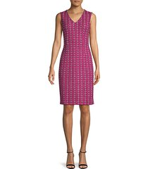 oxford medallion-knit wool-blend sheath dress