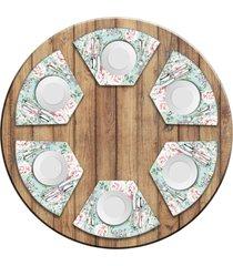 jogo americano love decor para mesa redonda wevans flowers premium kit com 6 pçs