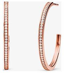 mk orecchini a cerchio in argento sterling con placcatura in metallo prezioso e pavé - oro rosa (oro rosa) - michael kors