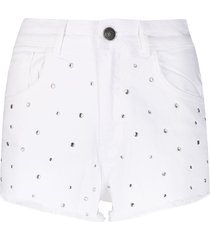 twin-set stud-embellished denim shorts - white