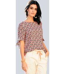 blouse alba moda beige::zalm::zwart