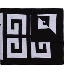 givenchy intarsia knit logo scarf - black