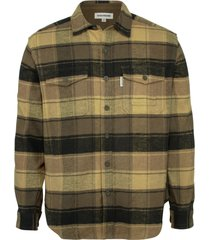wolverine blake flannel shirt brown plaid, size l