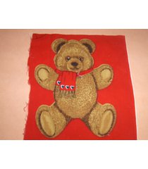 fabric applique teddy bear with red scarf 13 available