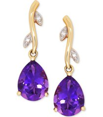 amethyst (1-9/10 ct. t.w.) & diamond accent drop earrings in 14k gold