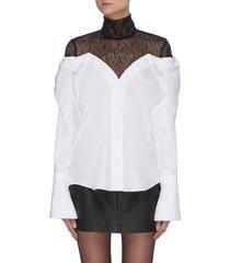 'ayame' lace turtleneck cotton shirt overlay top