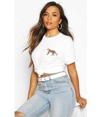 petite leopard pocket print oversized t-shirt, white