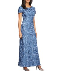 women's alex evenings embellished lace a-line gown, size 12 - blue