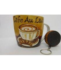 caneca de cerâmica com chaveiro cafe au lait 037-6012abc - caneca de cerâmica com chaveiro cafe au lait 037-6012abc