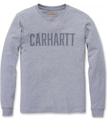 carhartt shirt men block logo l/s heather grey-s