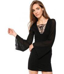 vestido chiffon con amarras negro 7.5 setepontocinco