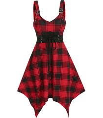 checked lace up buckled cami asymmetrical dress