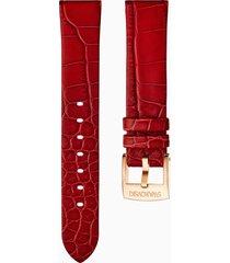 cinturino per orologio 18mm, rosso, placcato color oro rosa