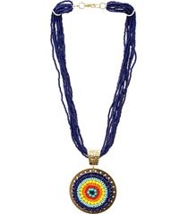 collar mostacillas largo dije imperial multicolor bijulovers