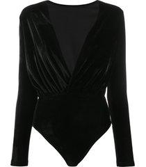 alchemy long-sleeve wrap bodysuit - black